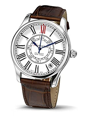 Red Star Line Classic Classic Vintage Citizen Quartz Brown Leather Strap White Dial Men's Watch Rsl030