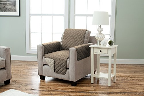 Strap Furniture Collections (Deluxe Reversible Stain Resistant Furniture Protector in Solid Colors. Includes Adjustable Elastic Straps. Charleston Collection By Great Bay Home Brand. (Chair, Fossil Brown))