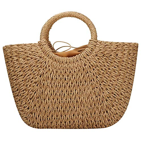 (Hand-woven Straw Bag Large Hobo Bag Weave Handbag For Women Round Handle Ring Toto Retro Summer Beach Straw Bag (Coyote brown))