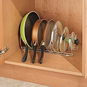 Organizador de cajones y armarios de cocina mDesign Organizador de sartenes y tapaderas Soporte de metal cromado con 6 compartimentos para sartenes y tapas de ollas
