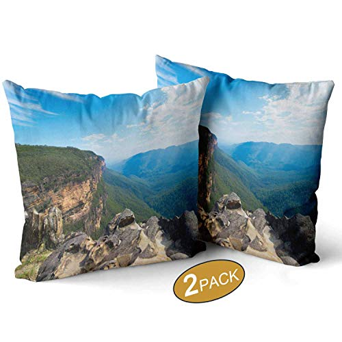 Nine City Lookout Over Jamison Valley Pillow Case,Blue Mountains in Australia Sofa Bed Throw Cushion Cover Decoration,16