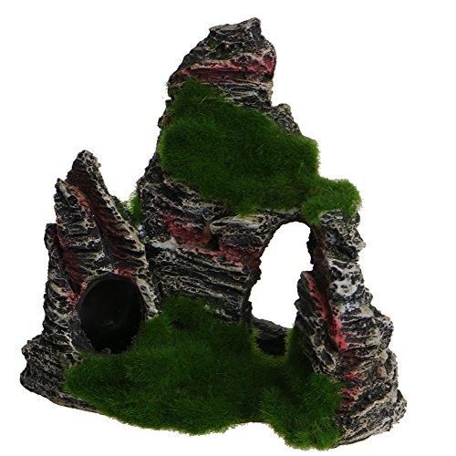 (Mimgo Resin Hiding Cave with Moss Fish Tank Bridge Decor Aquarium Rockery Ornament)