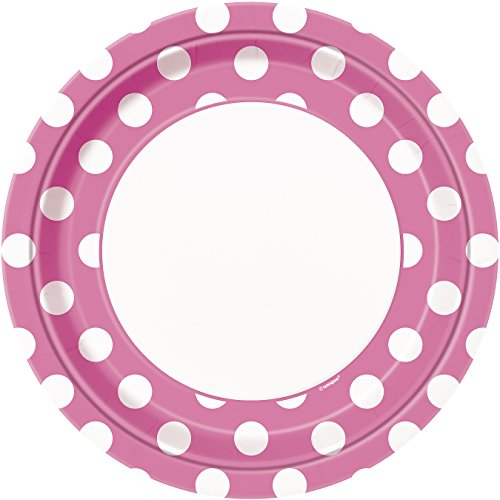 Hot Pink Polka Dot Paper Plates, 8ct