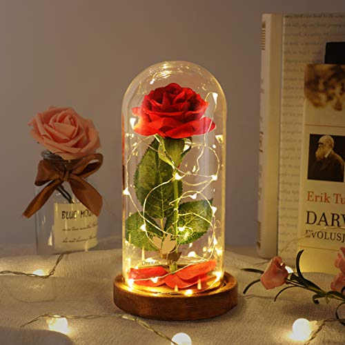 Beauty and The Beast Rose -Romantic Choice for Home Decor and Holiday Parties, Beautifully Decorated With Red Silk Roses, LED Lights and Dome Glass Base