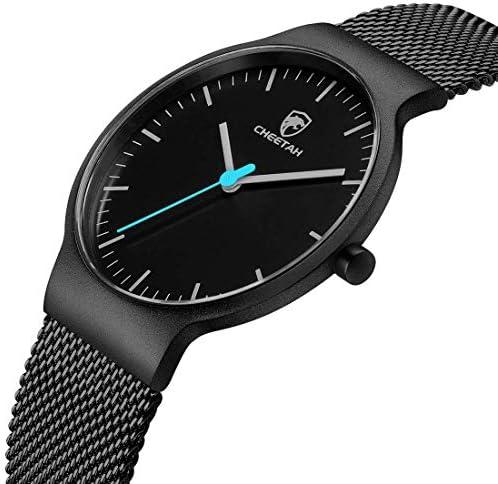 GOLDEN HOUR Men's Watches Fashion Minimalist Thin 38mm Unisex Quartz Analog Waterproof Watch with Black Stainless Steel Mesh Band WeeklyReviewer