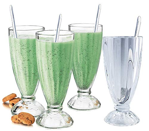 Fountain Shoppe Classic, Milk Shake, Ice Cream Soda Glass, 12-Ounce, Clear With Long Stainless Steel Spoons 4 PACK By Chefcaptain (4 Glaases 4 Long -