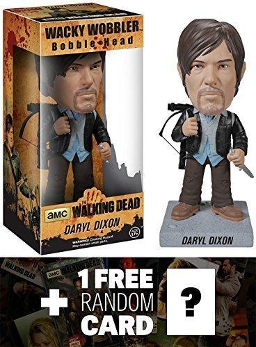 Biker Daryl Dixon Bobble Head Figure: Walking Dead x Wacky Wobbler Series + 1 FREE Official Walking Dead Trading Card Bundle