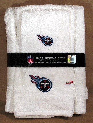 Tennessee Titans NFL 3 Piece White Embroidered Bath Towel Gift (Tennessee Titans Bedding)