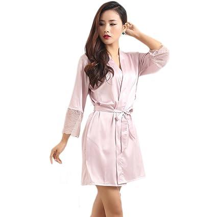 XUANLI Mujer Kimono Batas de Cuello V Satín Camisón Color Puro Estilo Corto con Encaje (