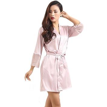 XUANLI Mujer Kimono Batas de Cuello V Satín Camisón Color Puro Estilo Corto con Encaje (Rosa-Large): Amazon.es: Hogar