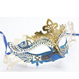 Mask Costume Ladies Eye Mask Masquerade Ball Fancy Colorful Available to Choose J1996# (Gold combine blue)