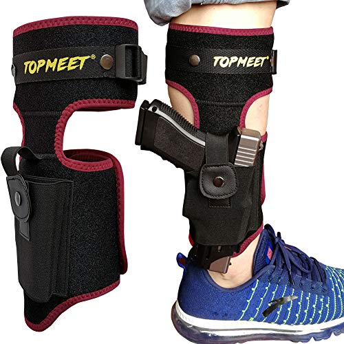 topmeet Ankle/Leg Gun Holsters for Pistols Concealed Carry with Tactical OWB IWB Magazine Pocket Fits Glock 18 20,Desert Eagle,SW MP Shield 40 45 9mm,Revolver,Springfield Xds xd, Ruger,Kimber,Red ()