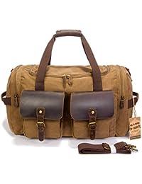 Leather Canvas Duffle Bag Weekender Overnight Travel Duffel Gym Bag Luggage
