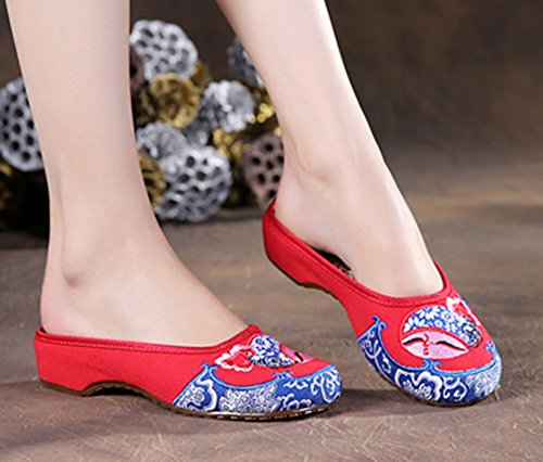 AvaCostume Beauty Face Embroidered Flats Womens Slippers Loafers Red f5tpyR