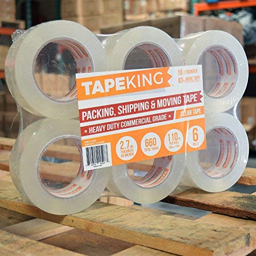 Tape King Clear Packing Tape - XL 110 Yards per Roll (36 Rolls) - 1.88 inch Wide Stronger & Thicker 2.7mil, Heavy Duty Adhesive Industrial Depot Tape for Moving Packaging Shipping and Commercial by Tape King (Image #1)