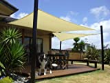 Talentstar 18 x 18 ft Square UV Apontus Sun Shade Sail, Sand