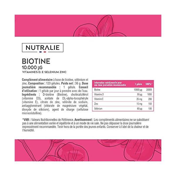 Biotine 10 000 mcg | Vitamines D et E, Zinc et Sélénium | Contribue à la Pousse Cheveux, Ongles et Peau | 120 Gélules…