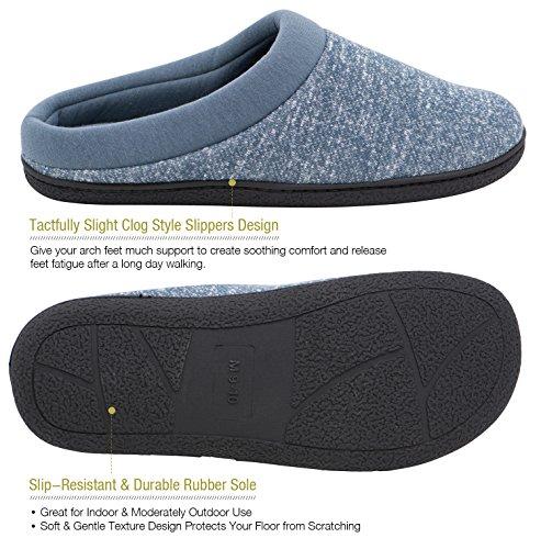 HomeTop - Zapatillas de estar por casa de forro polar para hombre Azul