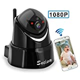 SOTION Full 1080P HD WiFi Internet Wireless Network IP Indoor Home Security Surveillance Video Camera System, Baby and Pet Monitor with Pan and Tilt, Two Way Audio & Night Vision