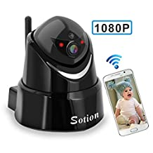 SOTION Full 1080P HD WiFi Internet Wireless Network IP Security Surveillance Video Camera System, Baby and Pet Monitor with Pan and Tilt, Two Way Audio & Night Vision