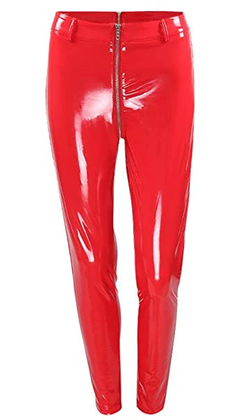 2b092f7a19ab8 X-Future Womens Sexy Wet Look Faux Leather Tights Leggings Skinny Leather  Pants Red XS