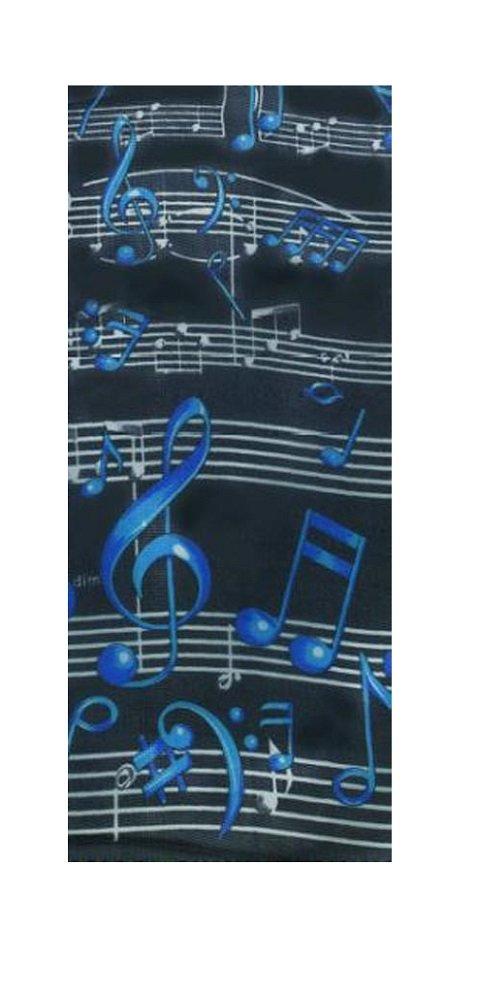 【名入れ無料】 Music Treasures Co。ブラックスカーフW Treasures B008PKPSFE/ブルー音記号と音符 Music B008PKPSFE, 石岡市:e1cd4457 --- arcego.dominiotemporario.com