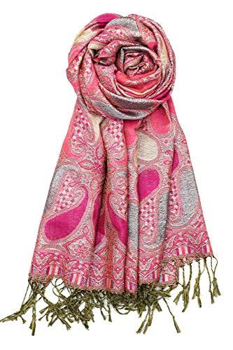Achillea Women's Paisley Pattern Sparkling Metallic Pashmina Shawl Wrap Scarf Stole (Fuchsia Pink)
