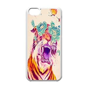 iPhone 5C Cases tiger floral Hardshell For Girls, Iphone 5c Cases Fashionable Hardshell For Girls [White]
