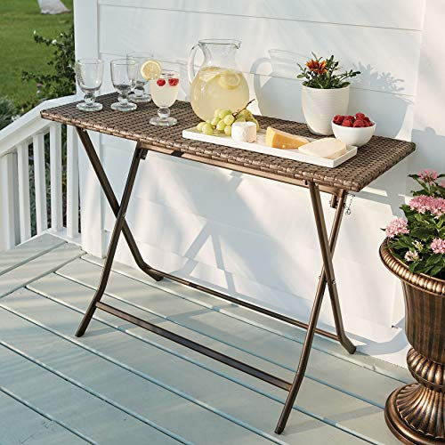 BrylaneHome Santiago Folding Table - Brown (Bbq Outdoor Cart)