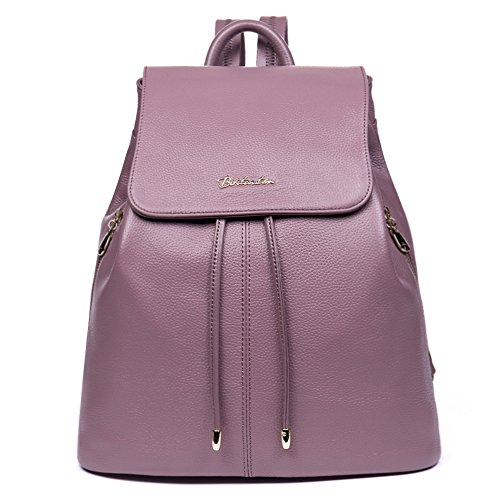 for Casual Handbags Women's BOSTANTEN lilac amp; Daypack Girls Leather Ladies Backpack Vintage wRFUqC0