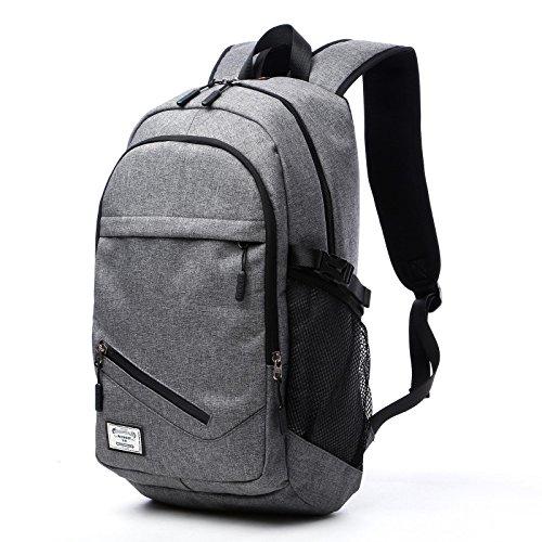 loiee 17pulgadas portátil mochila con puerto de carga USB para hombre y mujer, resistente al agua mochila para portátil College escuela bolsa de viaje, color gris negro gris
