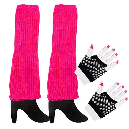 80s Costume Accessories-Women's Hot Pink Leg Warmers and Black Fishnet Gloves Set Complete Your 1980's Style