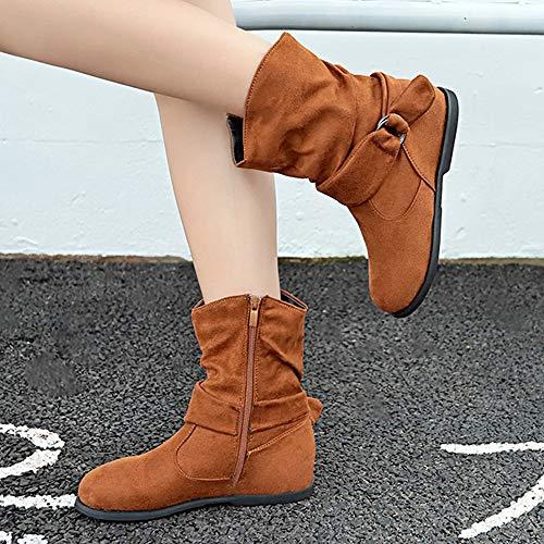 Media El Suaves Botas Flat Ecco Vintage Booties ALIKEEY Set Women Tobillo Pies Botas Estilo Aire Marrón Zapatos Libre Comodos qpdOB