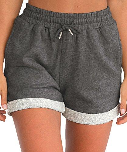 Tengo Women Summer Beach Shorts Juniors Folded Hem Shorts with Drawstring(Darkgrey,M) by Tengo (Image #3)