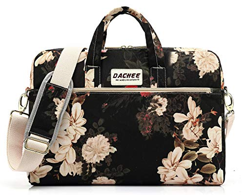 DACHEE Black Peony Pattern Waterproof Laptop Shoulder Messenger Bag Case Sleeve for 12 inch 13 inch Laptop and 11/12/13.3 inch