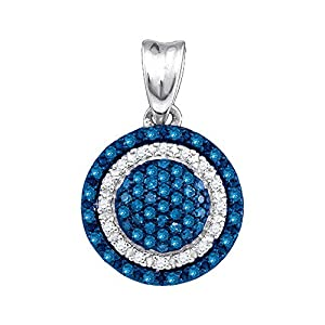 Diamond Pendant 10kt White Gold Blue Colored Circle Frame Cluster 1/4 Cttw(I2/i3, i/j)