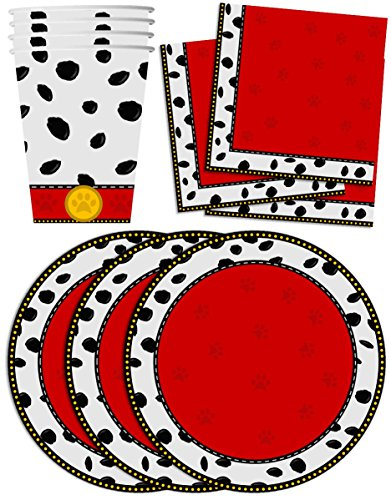 Dalmatians Birthday Party Supplies Set Plates Napkins Cups Tableware Kit for 16 by Birthday (101 Dalmatians Party Supplies)