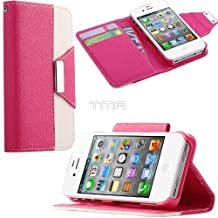 PU Leather Flip Credit Card Wallet Stand Case Cover For iPhone 4 4S - Hot Pink