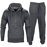 Men Tracksuit Set Contrast Cord Fleece Hoodie Bottom Jogger Gym Sport Suit Pants,Charcoal,XX-Large