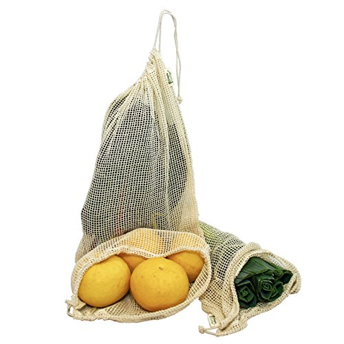 Simple Ecology Reusable Organic Cotton Mesh Grocery Shopping Produce Bags - XLarge 3 Pack (heavy duty, washable, produce saver bags, food storage, bulk bin, tare weight tag, drawstring)