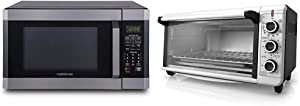 Farberware FMO16AHTBSD Microwave Oven with Smart Sensor Cooking & BLACK+DECKER TO3240XSBD 8-Slice Extra Wide Convection Countertop Toaster Oven, Stainless Steel/Black Convection Toaster Oven