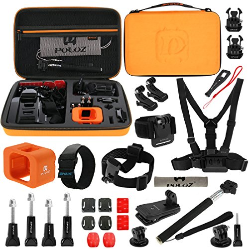 PULUZ 29 in 1 Gopro Accessories (Head Strap + Wrist Strap + Floating Cover + Surface Mounts + Backpack Rec-mount + Extendable Monopod + Tripod Adapter) for GoPro HERO5 Session /4 Session / Session
