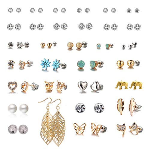(Spiritlele 32 Pairs Crystal Elephant Owl Stud Earrings Set Leaf Drop Earrings Pack for Women Girls)