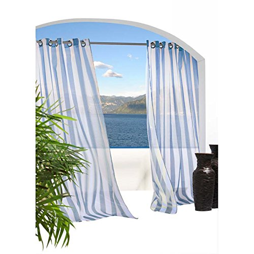 Commonwealth Home Fashions 70503-109-601-96 Escape Sheer Stripe Grommet Outdoor Top Curtain Panel 96 in., Blue