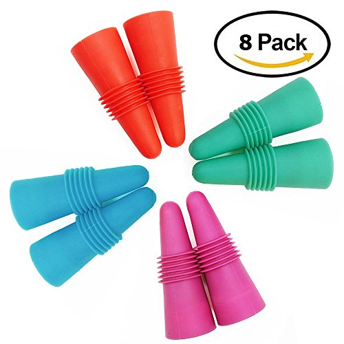 8 pcs of Wine Stoppers, ANIN Reusable Silicone Beverage Bottle Sealer Replacement with Grip Top for Cork to Keep the Wine Fresh - Red, Pink, Green, Blue - Rabbit Wine Bottle Stoppers