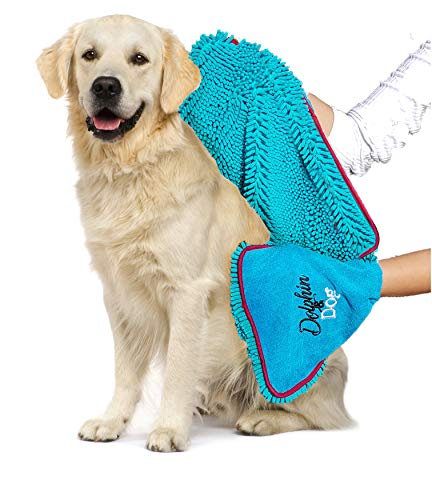 Dolphin & Dog - Towel for Dogs - Super Absorbent Dog Towel - Quick Drying & Machine Washable - Dog Microfiber Towel - Dog Bath Towel - Pet Microfiber Towel - Gift for Dogs (Blue)