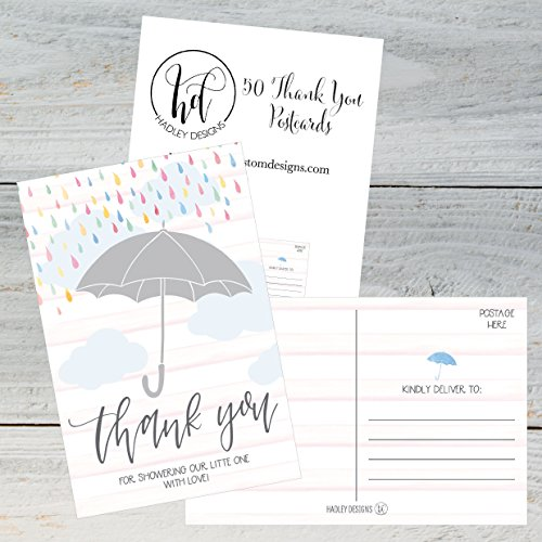 50 4x6 Rain Umbrella Blank Thank You Postcards Bulk, Cute Modern Sprinkle Baby Shower Rainbow Showered With Love Thank You Note Card Stationery For Wedding Bridesmaid Bridal, Religious, Holiday Photo #2