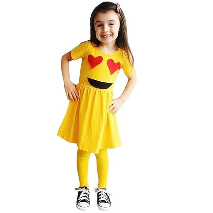 QinMM Bebé Niña Linda Emoji Imprimir Vestidos Manga Corta Tutú (A, 1 Años)