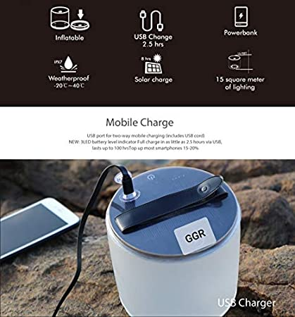 Inflatable Solar Light with Phone Charger