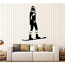 Vinyl Wall Decal Snowboarding Extreme Sport Snowboarder Girl Stickers Large Decor (1024ig) Grey